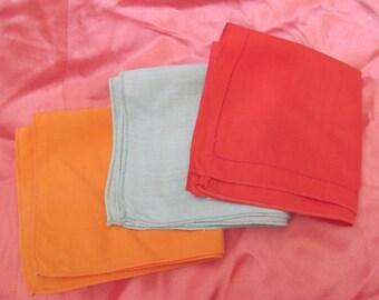 Hankies - Lot of 3 Solid Color Vintage Antique Handkerchief