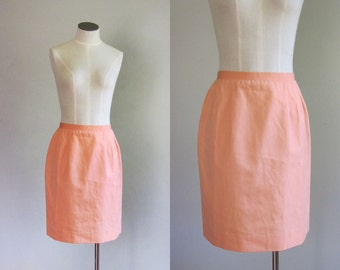Vintage 1970s Koret of California Bright Peach Pencil Skirt. 70s Pastel Mini Skirt.