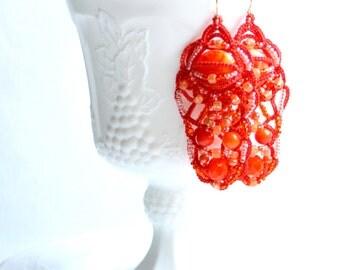 Orange Yellow Swirl Chandelier Dangle Beaded Tatting Lace Earrings