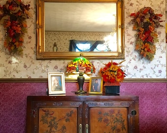 """Fall Teardrop Swag Set Wreath Silk Floral & Fruit Wall Door Decor 32"""" Gold Yellow Orange Brown Red IN/ Outdoor Thanksgiving"""