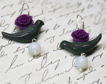 Purple Flower and Gray Pink Bird Dangle Earrings Moonstone Bridal Jewelry