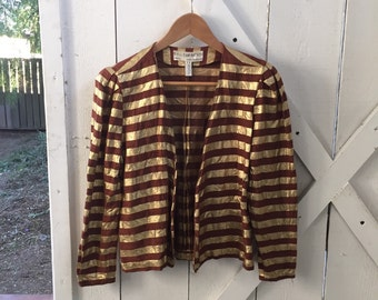 Avant garde vintage late 1970s / early 80s gold & brown striped disco blazer jacket xs/s