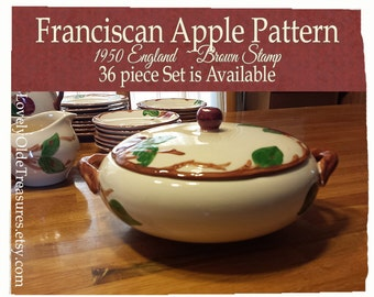 Franciscan Apple Covered Casserole Dish- England Brown Stamp- 1940-1950- Mid Century- Thanksgiving Table- Holiday Party- Vintage Bride Gift