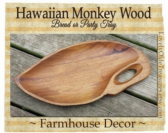 NO SHIPPING Hawaiian Monkey Wood Leaf Tray- Primitive Decor- Wood Sculpture Art- Farmhouse Decor- Thanksgiving Table- Holiday Party