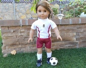 Go USA!   - complete soccer outfit  includes cleats and ball for American Girl doll and similar 18 inch