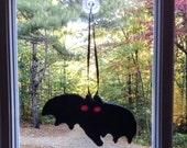 Black Bat Ornament, Vintage Inspired Non Edible Sugar Fun Bat Hanging Decorative Ornament , Glow in the Dark Eyes