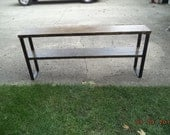 industrial and steel console table sofa table with raw steel legs wood and metal tv stand, media center