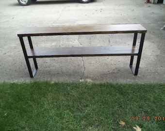 industrial and steel console table, sofa table with raw steel legs, wood and metal tv stand, media center