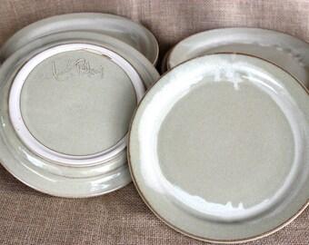 Set of 2 Ceramic dinner plates, stoneware, wheel thrown plates 10.5 inch