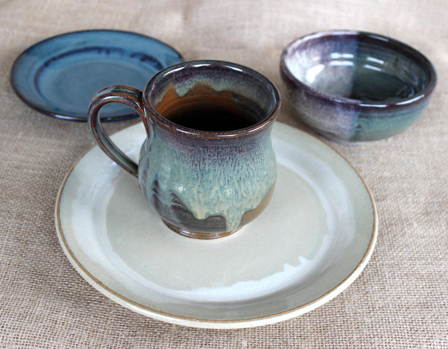 mix and match dinnerware 4 piece stoneware pottery by audpottery. Black Bedroom Furniture Sets. Home Design Ideas