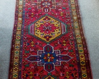 Genuine Hand Knotted Iranian Matana Rug 3' x 11' 100% wool pile, natural vegetable dyes, vintage.