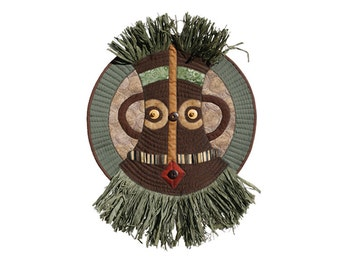 "African-Inspired Mask - Quilted Wall Hanging -STRAWMAN - 14.5""W x 20""H"