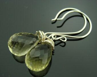 Lemon Quartz Drop 925 Sterling Silver Earrings