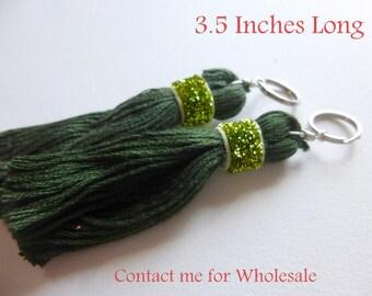 Sap Green  Tassels -1 Pair Thread Tassles- Green  Tassle- Green  Bag accessories- Green  Jewelery Tassles