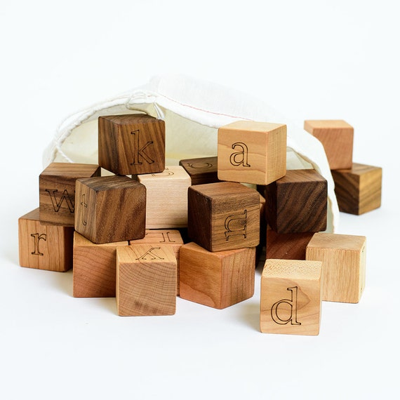 Your Choice of 7 Custom Wooden Blocks // Create a Baby Name Gift with these Natural, Eco Friendly Wood Block Toys for Baby Boy or Girl