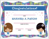 Daisy Girl Scouts Patch Certificate - Printable Instant Download