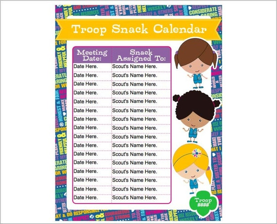 daisy girl scout snack calendar editable printable instant. Black Bedroom Furniture Sets. Home Design Ideas