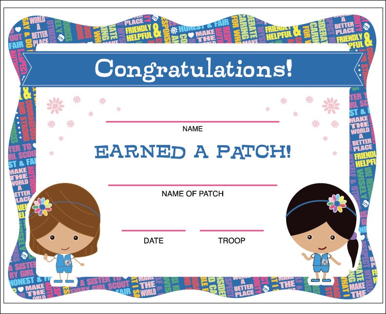 Daisy Girl Scouts Patch Certificate Printable Instant