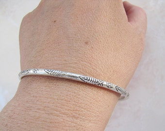 Etched Solid Sterling Silver Bangle, Fish and Flower bracelet, Boho Style