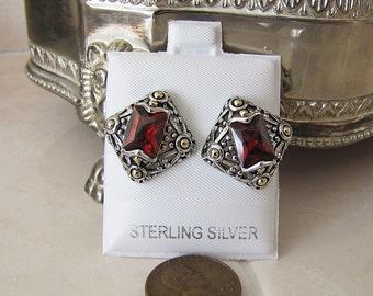 Ornate Garnet Sterling Silver Earrings, Diamond shaped, Sale