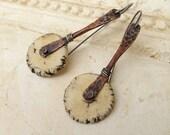 RESERVED Simple rustic everyday earrings.