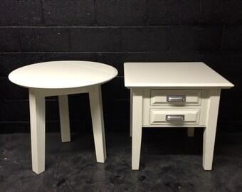 Antique White Wood End Table Set