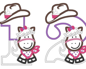Little Cowgirl Birthday numbers - whole set - machine embroidery applique designs 5x7 INSTANT DOWNLOAD