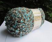 Boucle Yarn Turquoise and Brown Bernat Soft Boucle Teal Twist