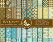 50% Off Blue and Brown Super Mega Paper Pack - 40 Printable Digital papers - 12 x12 - 300 DPI