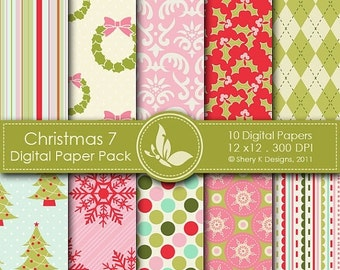 50% off Christmas 7 Paper Pack - 10 PrintableDigital papers - 12 x12 - 300 DPI ////// 7