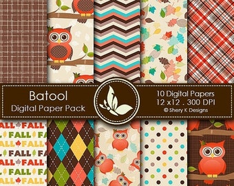 50% Off Fall Owl Paper Pack - 10 Digital scrapbooking papers - 12 x12 - 300 DPI
