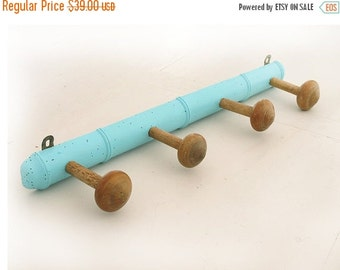 Authentic Large  French Antique Faux Bamboo Wooden Coat Rack 1930s,repaint in blue, Large Wooden Coat Hook Hat Rack