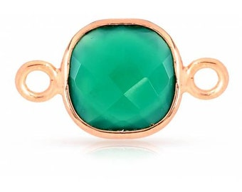 Green Onyx Gemstone Square Bezel Connector Rose Gold Plated Sterling Silver 8mm - 1pc Good Quality Wholesale price (7977)/1
