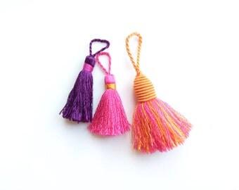 Tassels, French Vintage Tassels, Orange, Pink, Purple