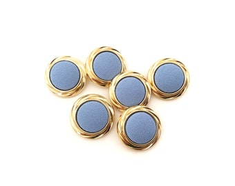 6 Blue Fabric & Gold Vintage Buttons