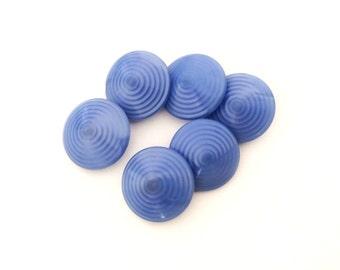 6 Pastel Blue Glass Buttons, Vintage