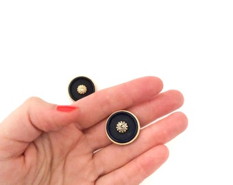 3 Buttons, Navy Blue & Gold Vintage Buttons