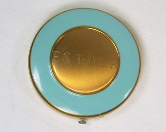Vintage Dorset Fifth Avenue Powder Compact Turquoise Blue Enamel Gold Tone Engraved Esther Monogrammed