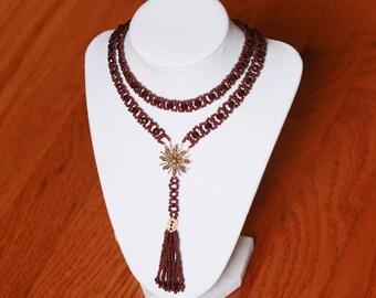 Hand Woven Garnet & Pearl Sautoir Tassel Necklace