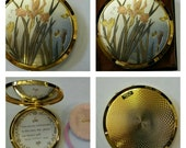 ON SALE- Signed Chokin Art of Japan Compact By Lovely Featuring Irises And Butterflies circa 1970's-  DR216