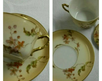 Covered Limoges Bouillon cup & saucer by (CFH-GDM) circa 1891-1900    #DSC