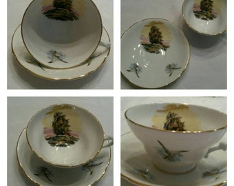 Stanley Cup & Saucer Featuring A Clipper Ship and Seagulls circa 1953-1962  DR