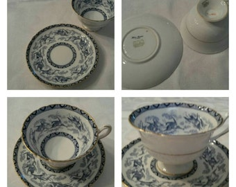 Footed Shelley Cup & Saucer Called Blue Heron circa 1925-1940-  DR