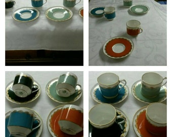 Aynsley cup & saucer in four delicious colors circa 1950's    DR