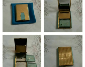 ON SALE- Coty Double Compact Featuring A Gold Tone And Turquoise Bakelite Body circa 1940's  DR190