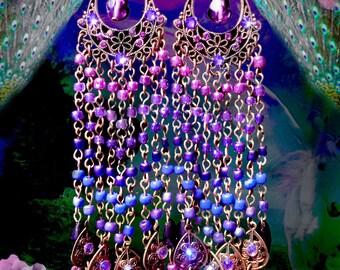 Long Colorful Beaded Purple Ombre Chandelier Earrings, Boho Gypsy Jewelry, Pink, Purple, Blue, Custom Colors, Clip-On Option