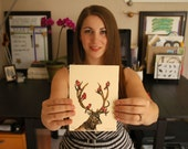 Woodland Animal Print - Elk - Cardinals - Gocco Screenprint - ONLY 1 LEFT! - Antlers - Red Birds - Majestic Host - Limited Edition Print