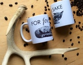 For Fox Sake mug, foxy gift for fox lover fox funny coffee mug animal tea cup ceramic Housewares Rustic Tableware Cabin Style