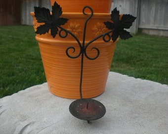 Vintage small black iron wall sconce candle holder with leaf detail