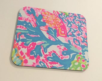 Mouse Pad  made with Lilly Pulitzer Signature Fabric Lovers Coral
